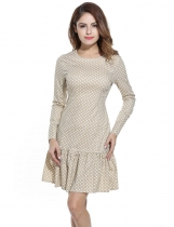 Meaneor Khaki Women Vintage Style Polka Dot Long Sleeve Bodycon Slim A-Line Going Out Dresses
