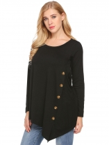 Black Manga comprida feminina Asymmetrical Hem Casual Button Embellished Top Tunic Shirts