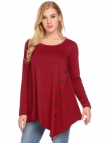 Red Women Long Sleeve Asymmetrical Hem Casual Button Embellished Top Tunic Shirts
