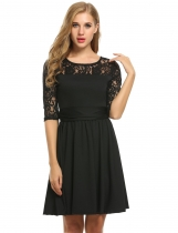 Black Lace Crochet 3/4 Sleeve Pleated Wedding Bridesmaid Dresses
