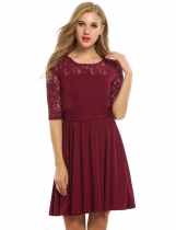 Wine red Lace Crochet 3/4 Sleeve Pleated Wedding Bridesmaid Dresses