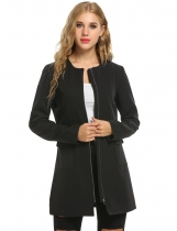 Black New Women Casual O-Neck Long Sleeve Solid Mid-Long with Pockets Coats & Jackets