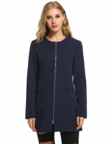 Dark blue New Women Casual O-Neck Long Sleeve Solid Mid-Long with Pockets Coats & Jackets