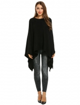 Black O-Neck Batwing Sleeve Solid Cloak Pullover Knit Sweater