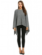 Gray O-Neck Batwing Sleeve Solid Cloak Pullover Knit Sweater