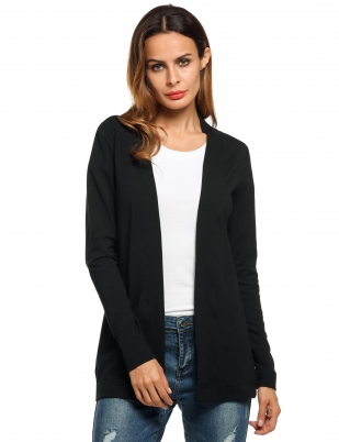 93ae2e16b1 Meaneor Black Women s V-Neck Long Sleeve Open Front Casual Solid Sweaters    Cardigans