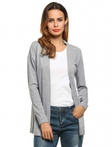 Meaneor Gray Women's V-Neck Long Sleeve Open Front Casual Solid Sweaters & Cardigans