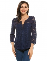 NavyBlue Casual V-Neck 3/4 Sleeve Floral Lace Button Blouse Tops