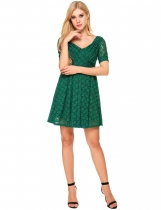 Green Vintage Style Short Sleeve Lace Skater Dress