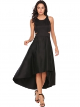 Negro Negro Mujeres sin manga recortado Solid Evening Prom Party asimétrico Swing Dress