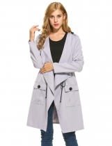 Frauen Revers Langarm Solid Drawstring Taille Casual Loose Trench Coat
