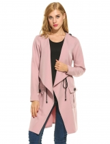 Lapel Long Sleeve Solid Drawstring Waist Casual Loose Trench Coat
