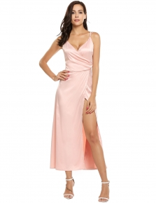 Pink Satin Spaghetti Strap Split Backless Wrap Maxi Dress 24a601364d0b