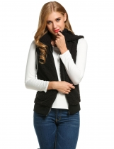 Black Casual Hooded Solid Fleece Vest with Pockets
