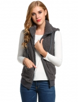 Dark gray Casual Hooded Solid Fleece Vest with Pockets