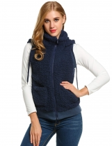 Navy blue Casual Hooded Solid Fleece Vest with Pockets