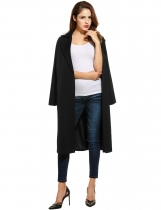 Black Long Sleeve Turn Down Collar Solid Long Coat