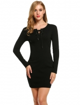 Black Women Fashion Slim Long Sleeve Solid Lace-up Pencil Short Going Out Dresses