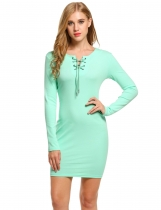 Mint Green Women Fashion Slim Long Sleeve Solid Lace-up Pencil Short Going Out Dresses