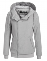 Gray Long Sleeve Zip Up Waterproof Hooded Quilted Cotton-padded Coat