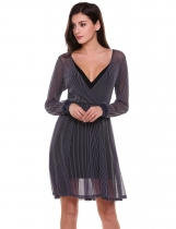 Navy blue Crossover V-Neck Long Sleeve Fit and Flare See-through Striped Mesh Dress