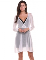 White Crossover V-Neck Long Sleeve Fit and Flare See-through Striped Mesh Dress