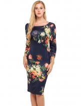 Dark blue 3/4 Sleeve Floral Print Bodycon Pencil Dress