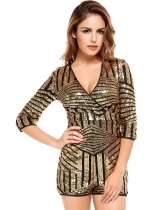 Short Sleeve Sequined Striped Slim V Neck Rompers