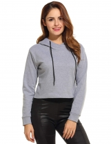 ACEVOG Gray Long Sleeve Hooded Plain Pullover Crop Hoodies & Sweatshirts