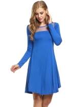 Meaneor Dark blue Women Sheer Mesh O-Neck Long Sleeve Loose Solid Tunic Casual Dresses