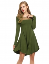 Meaneor Dark green Women Sheer Mesh O-Neck Long Sleeve Loose Solid Tunic Casual Dresses