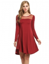 Meaneor Wine red Women Sheer Mesh O-Neck Long Sleeve Loose Solid Tunic Casual Dresses