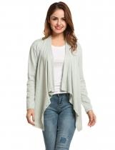 Gray Collarless Long Sleeve Solid Asymmetrical Hem Cardigan
