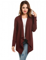 Wine red Collarless Long Sleeve Solid Asymmetrical Hem Cardigan