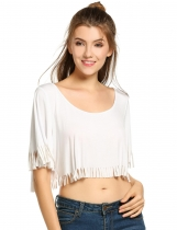 White Basic Tassel-End Backless Crop Tops