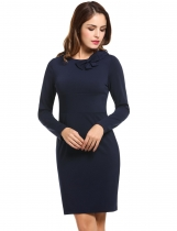 Mulheres novas Casual O-Neck Long Sleeve Bow Solid Dress