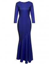 Blue 3/4 Sleeve Solid Bodycon Evening Fishtail Dress