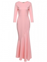 Pink 3/4 Sleeve Solid Bodycon Evening Fishtail Dress