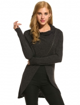 Zeagoo Black Women Cowl Collar Long Sleeve Asymmetrical Hem Knitted Zip Front Sweaters & Cardigans