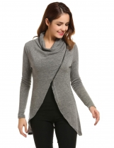Zeagoo Gray Women Cowl Collar Long Sleeve Asymmetrical Hem Knitted Zip Front Sweaters & Cardigans