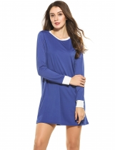 Bleu Nouveau Femmes Casual O-Neck Long Sleeve Contraste Color Patchwork Pullover Straight Elastic Dress