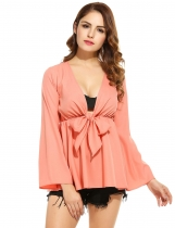 V Neck Solid Loose Pullover Knotted Chiffon Blouse