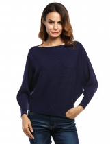 Blue Slash Neck Batwing Sleeves Loose Knitted Ribbed Sweater