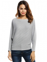 Gray Slash Neck Batwing Sleeves Loose Knitted Ribbed Sweater