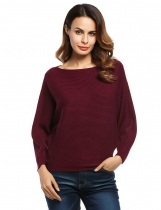 Wine red Slash Neck Batwing Sleeves Loose Knitted Ribbed Sweater