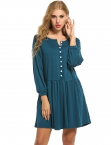Zeagoo Blue Women Long Sleeve Button Loose Pleated With Pockets Casual Dresses