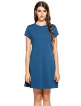 Lake blue O-Neck Short Sleeve Solid Pleated Elastic Swing Casual Dress