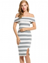 Gray Sleeveless Striped Off Shoulder Slim Going Out Dress