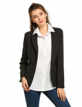 Black Long Sleeve Shawl Collar Solid Open-Front Blazer