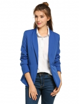 Blue Long Sleeve Shawl Collar Solid Open-Front Blazer